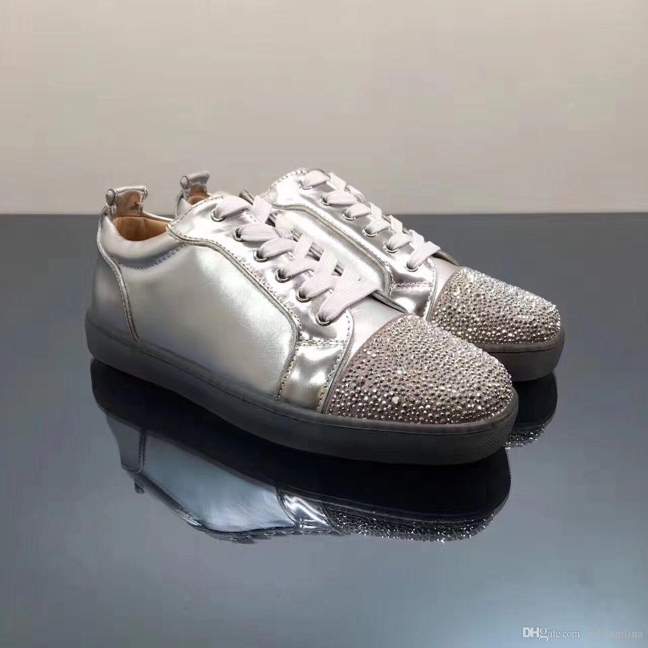 42b0a963123 Low Top Sliver Strass Roound Toe Red Bottom Rhinestone Sneakers ...