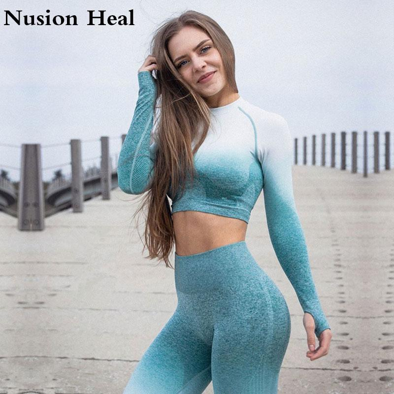 2019 Fashion New Seamless Gradient Tops Yoga Wear Womens Gym Fitness Sports Fashion Short-sleeved T-shirt Wrench