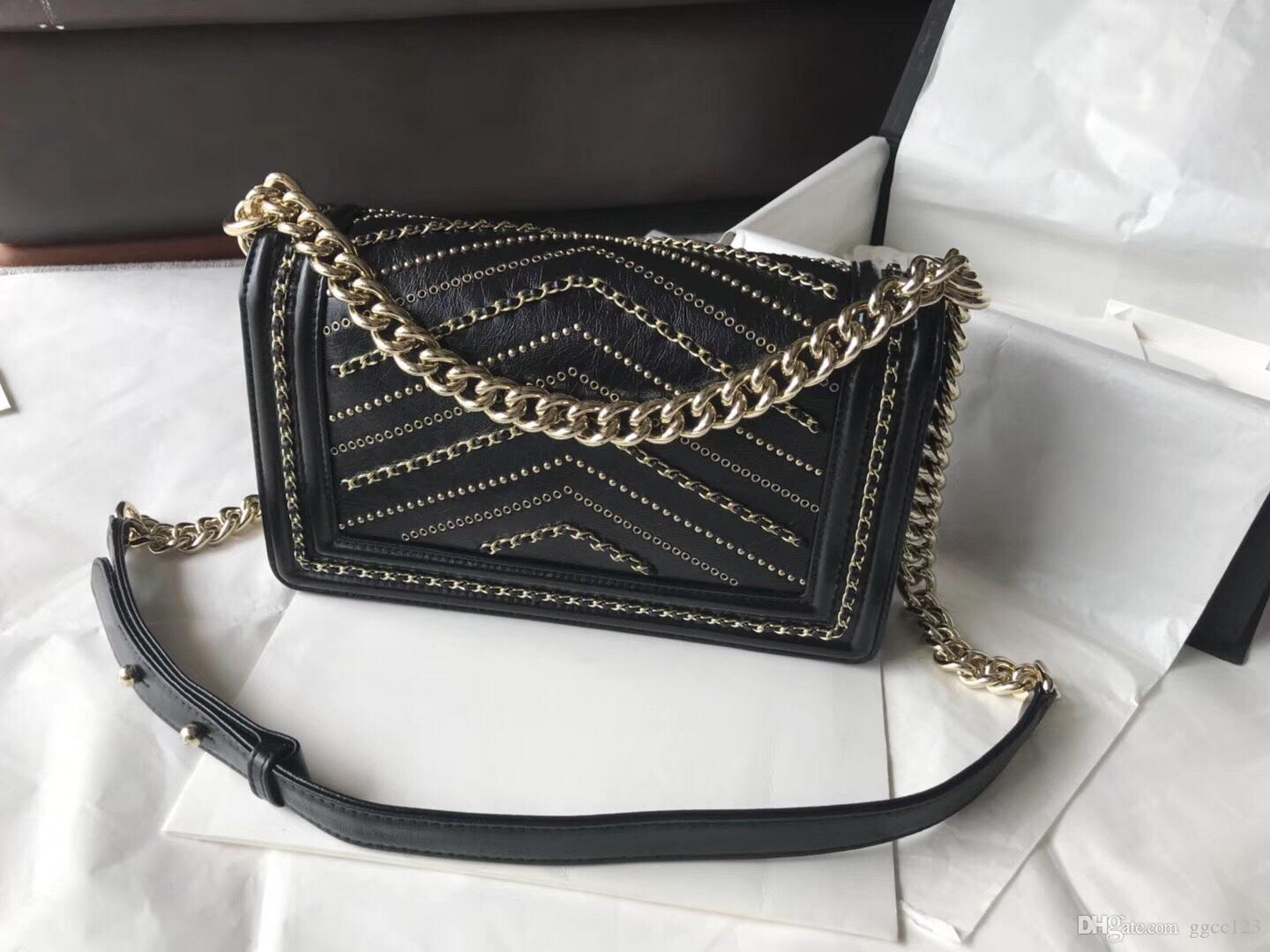 80728a4f3143 2018 Famous Designer Women Handbags 7A Top Quality Calfskin Genuine Leather  Chevron Rivets Silver And Gold Chain Shoulder Bags Designer Bags Handbags  Purses ...