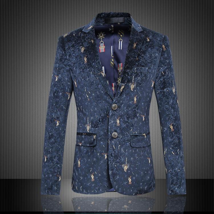 2018 Fashion New Men's Casual Velvet Suit Jacket / Men's High-end Boutique Bird Printing Suit Blazers Coat / Plus Size 6XL