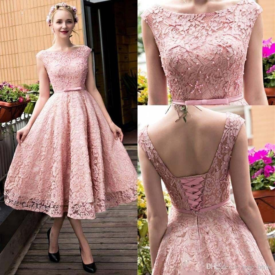 Compre 2018 Fairy Full Lace Short Prom Dresses Sheer Neck Cap Manga ...