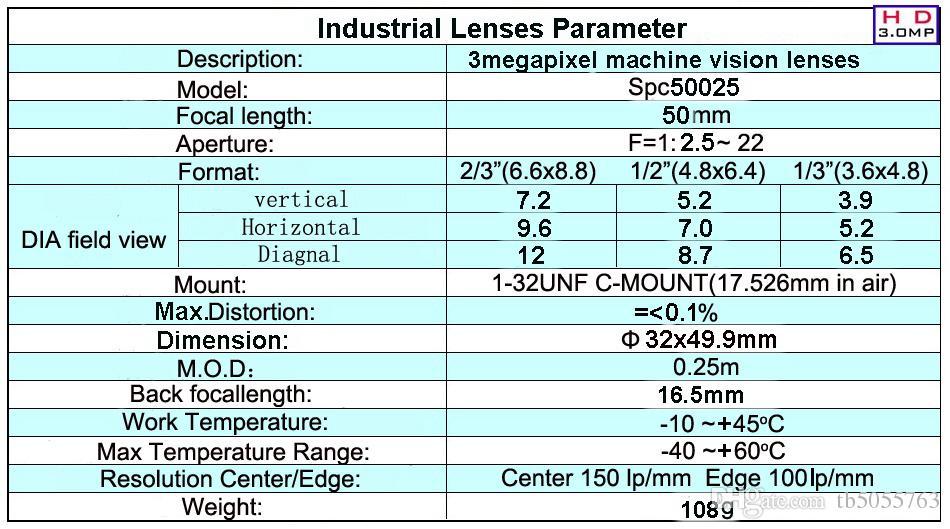C Mount 50mm High Resolution CCTV Camera Lenses by DHL-HK