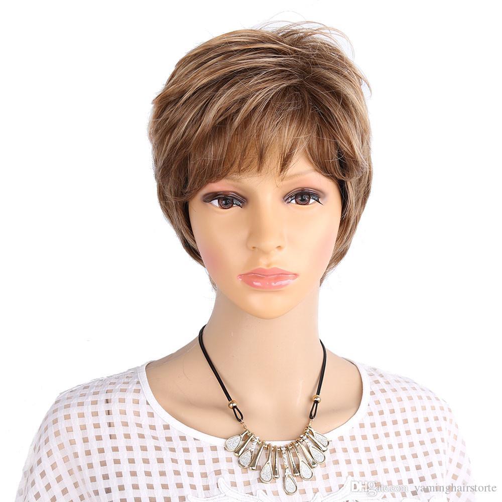 백인 여성을위한 푹신 푹신한 짧은 가발 금발 합성 곱슬 짧은 머리 가발 옴브와 피아노 색상