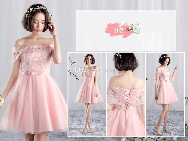 Pink Bateau Ruffles Tiers Ball Gown Short Wedding Dress Lace Up ...