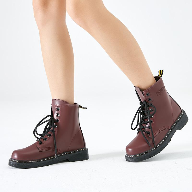 New Fashion Women Martin Boots Lace Up Vintage Retro Martin Boots Winter Warm Plush Brand Ankle Fur Boots Hiking Sports Shoes Female Shose