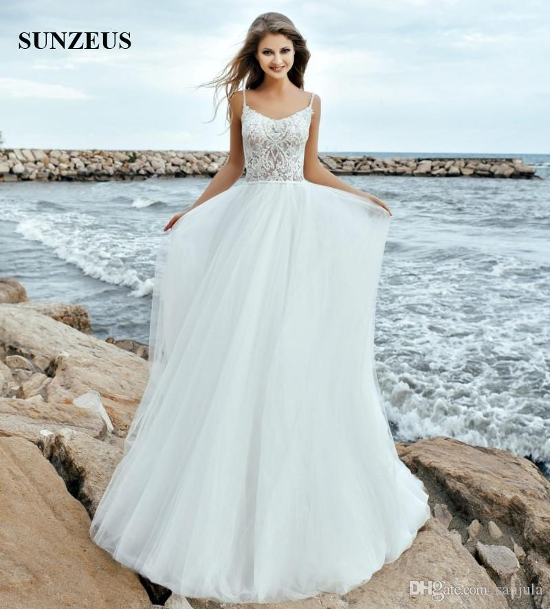 Discount A Line Spaghetti Straps 2018 Wedding Dresses Beach Long ...