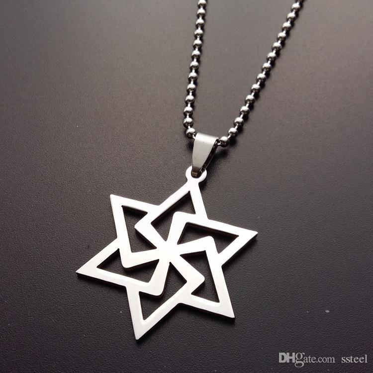 1pcs stainless steel magic six-pointed star pendant necklace hollow geometric hexagon necklace girl love Hexagonal shape necklace jewelry