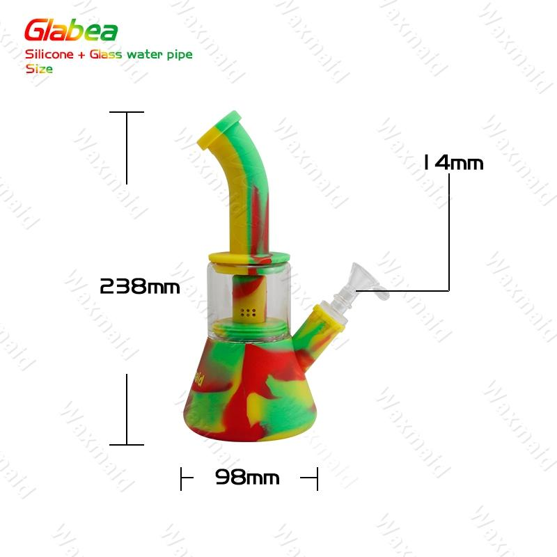Glass Bong FDA Silicone Water Pipe With 14mm Male joint Dab Rig for choose For Dry Herb DHL