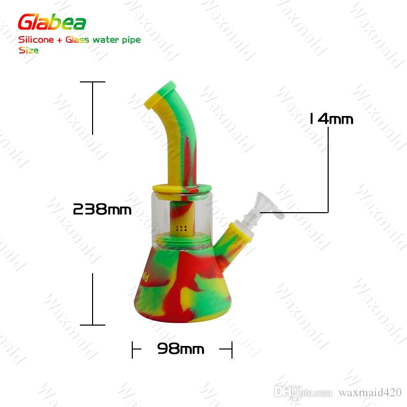 Glass Bong Platinum Cured Silicone Water Pipes With 14mm Male joint Beaker Bong for choose For Dry Herb DHL
