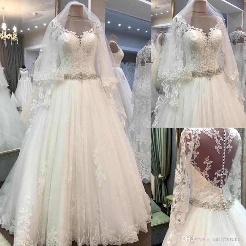 d7ccaec13c Discount Newest Long Sleeves Wedding Dresses Applique Crystal Pearl 2018  Sheer Neck Illusion Back Wedding Bridal Gown Vestido De Novia Chiffon A Line  ...
