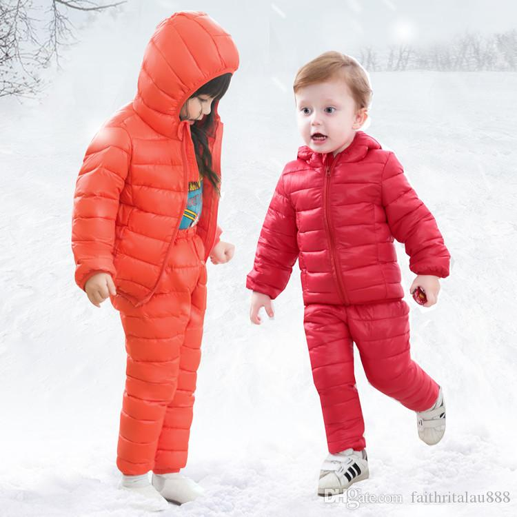 ee2b9ff74 Winter sets girls boys clothes 2pcs warm thick hooded down jackets cotton  padded coats pants solid zipper outerwear kids clothing sets baby
