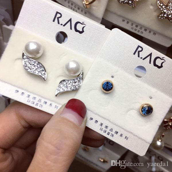 Allergy-free micro-inlaid zircon gold plated earrings wholesale Weifang fashion jewelry factory direct scott designer jewelry pandora