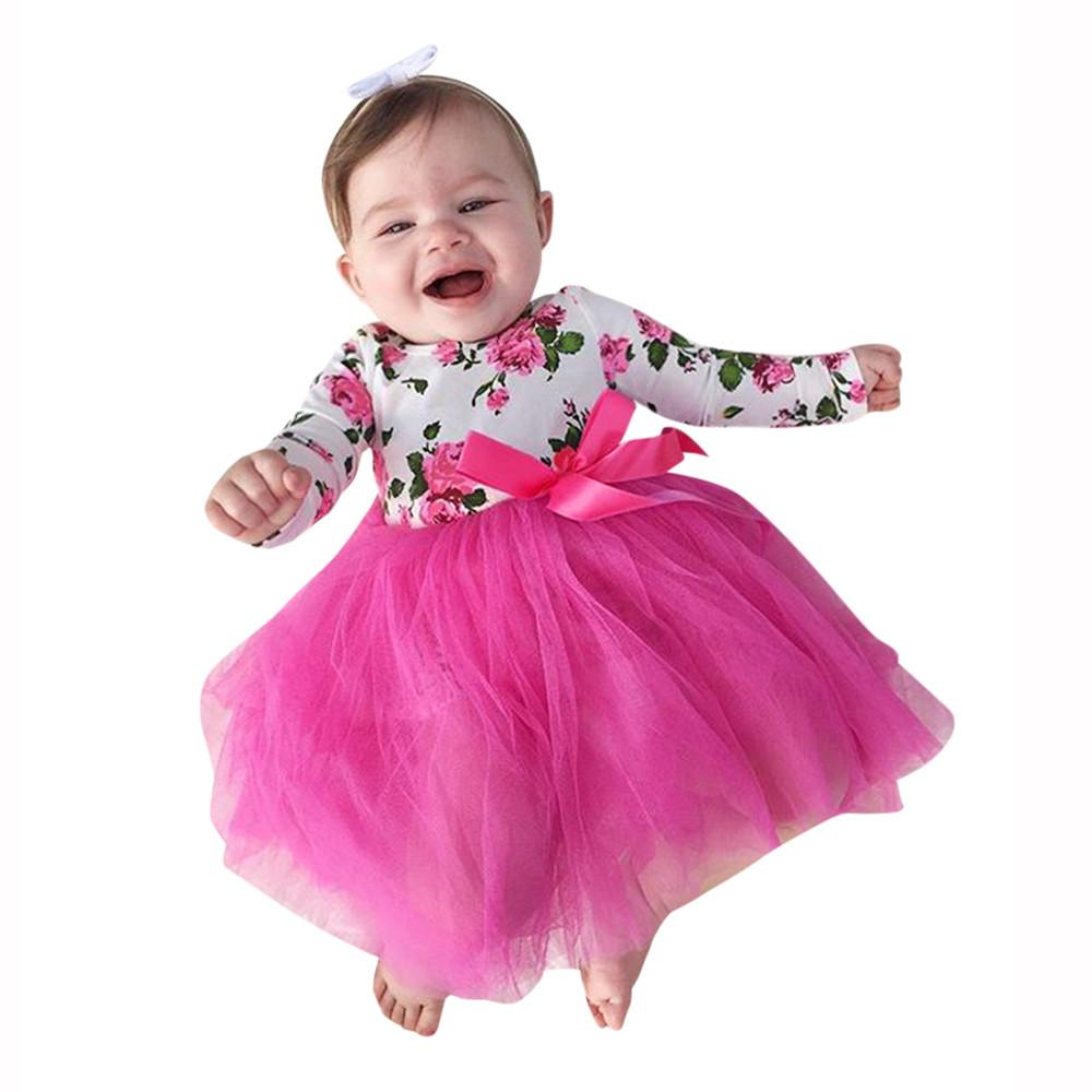 806a07f6ce8 2019 Baby Girl Dresses Floral Tutu Dress Romper Infant Long Sleeve Princess  Tutu Romper Dress Jumpsuit Party Costumes Vestido From Yohkoh