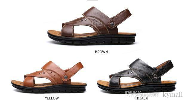 b66a22d8314e 18 Hot Summer Beach Shoes Mens Leather Sandals Slippers Leather First Layer  Of Leather Tendon Slip Tide Size US7 US9 Sandals For Men Jelly Sandals From  ...