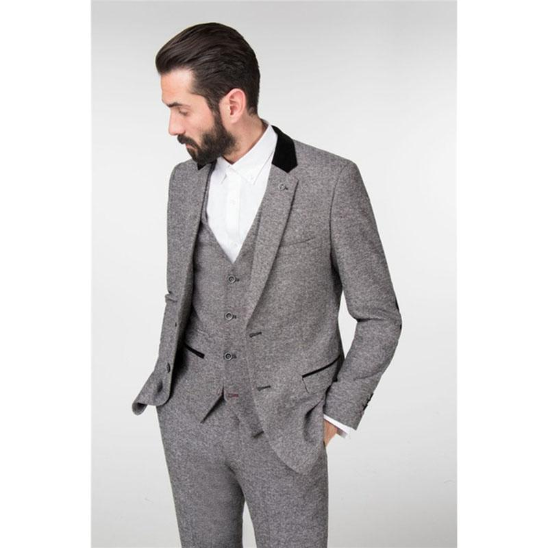 c6aa4246dc5d8 2019 2017 Latest Coat Pant Designs Winter Light Grey Tweed Men Suit Slim  Fit Tuxedo Custom Groom Blazer Mens Suits Masculino From Blueberry15