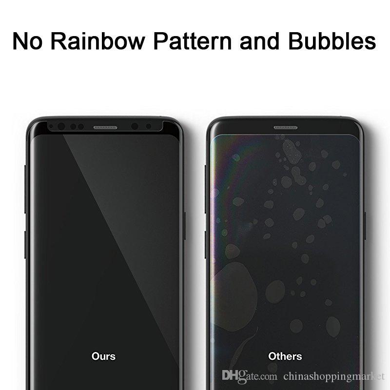 حالة دية 9H 3D منحني زجاج المقسى حامي الشاشة مع لS10 S9 S8 بالإضافة إلى ملاحظة 10 9 8 S7 سطح غطاء الشاشة مع حزمة