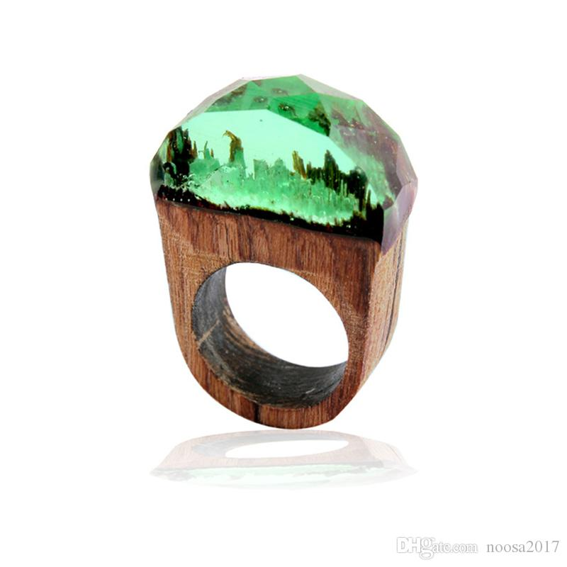 Secret Forest scenery Resin Rings Wood wooden Rings Crystal Band Rings handmade Fashion amber Jewelry for Women Gift