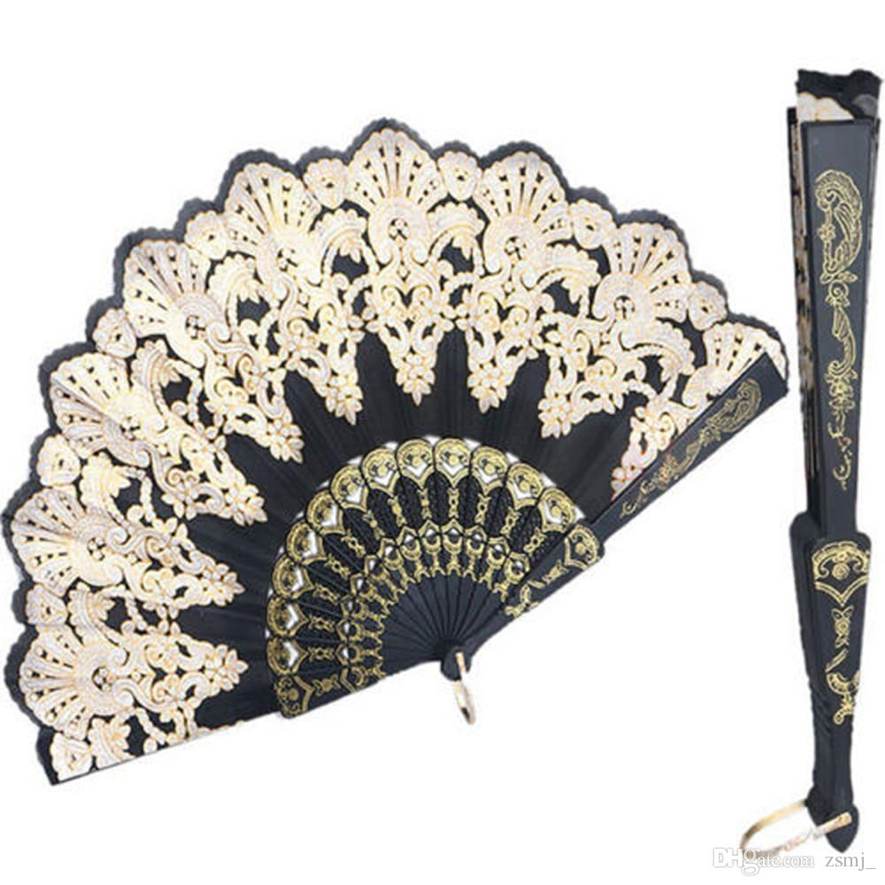 23cm Sequin Folding Fans Chinese/Spanish Style Dance Wedding Fan ...