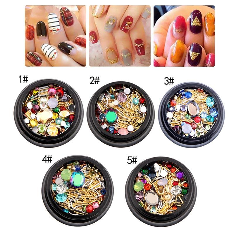 3d Nail Art Tips Crystals Metal Bar Decoration Mixed Size Glitter
