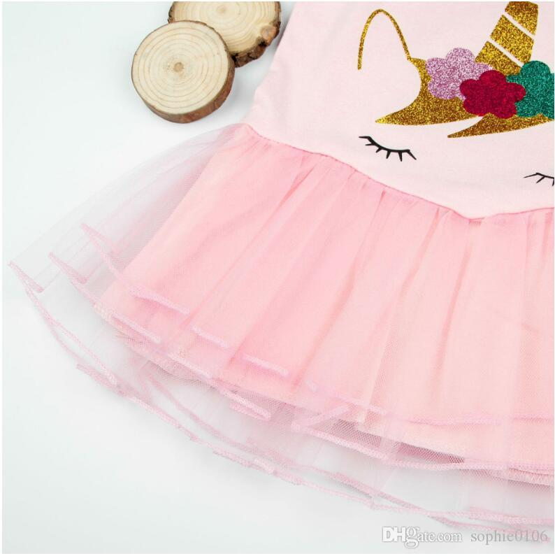 Girl Unicorn Printed Puff Sleeve Dress Baby Unicorn Pink Dresses Kids Spring Summer Skirts Children Clothes ZHT 005