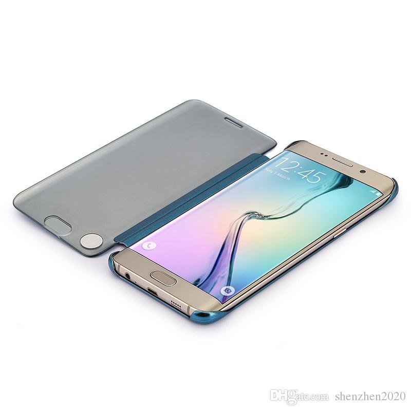 2018 Pour Galaxy S9 PLUS S8 S8 Plus Note 8 S7 EDGE Etui S6 Edge et S6 Edge Plus, J7 prime, miroir Voir étui à rabat transparent pour couverture de miroir hyperbolique