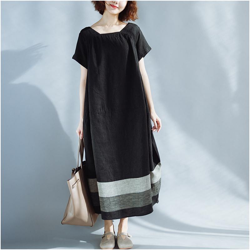 Mori Girl Summer Dress Plus Size Short Sleeve Black Women Dress Casual Loose  Cotton Linen Dress O Neck Vestidos De Festa Plus Size Maxi Dress Modest  Prom ... 247abea6ea00