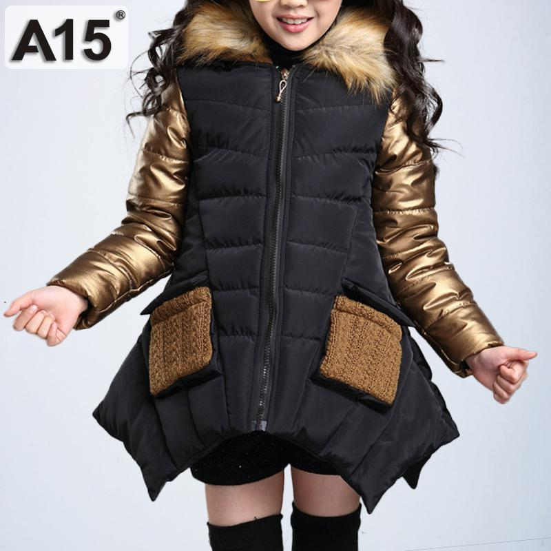 b84f571a6 Kids Girls Winter Jacket with Fur Collar Children Parka Clothes 2018 ...