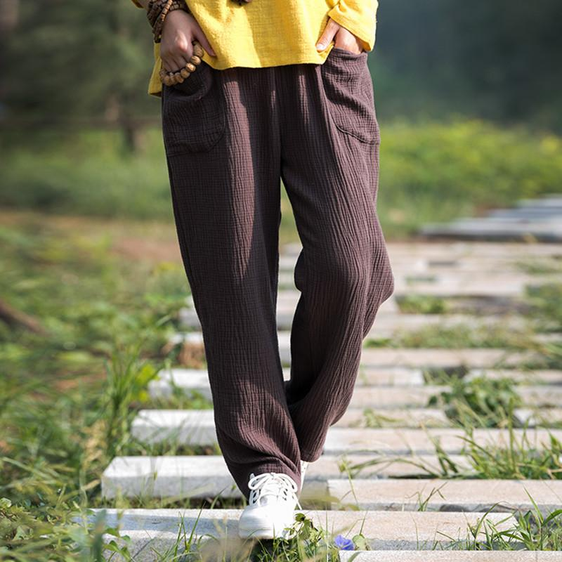 afad1ead914 2018 Spring Women Full Length Cotton Linen Pants
