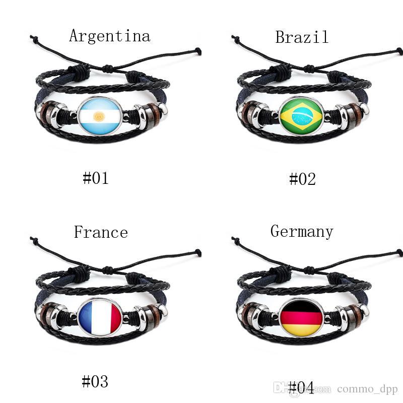 2018 Coppa del mondo di sport braccialetto 10 bandiere nazionali fascino nero intrecciato in pelle regolabile braccialetto le donne Fashion Fans gioielli