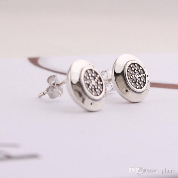Kadınlar Için Klasik tasarım Takı Tasarımcısı Küpe Orijinal kutusu Pandora 925 Ayar Gümüş Kristal Elmas Kadın Saplama Küpe