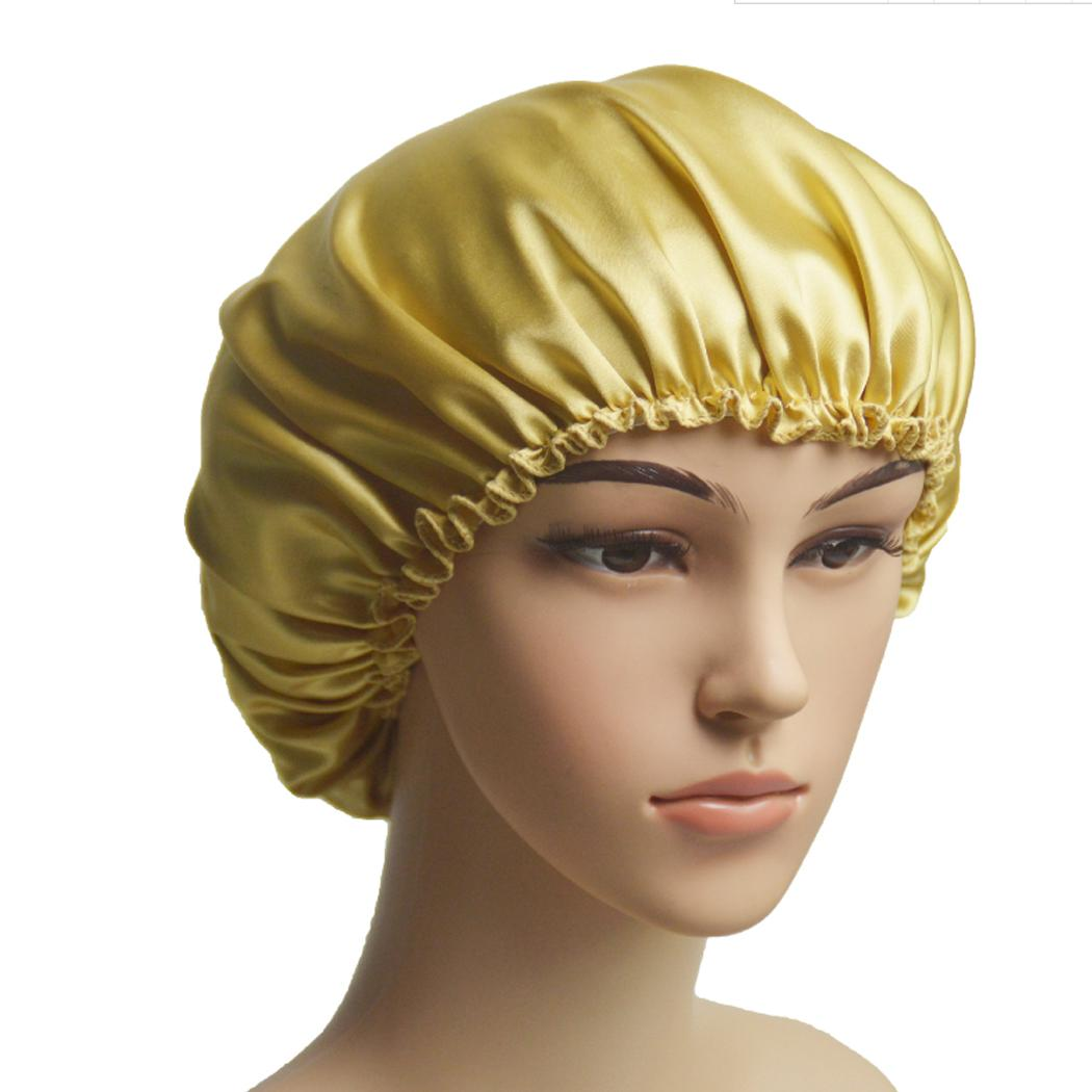 2019 Women Wide Band Satin Silk Bonnet Cap Comfortable Night Sleep Cap  Ladies Soft Silk Long Hair Care Bonnet Headwrap A1 From Stem 6be0cccaba6