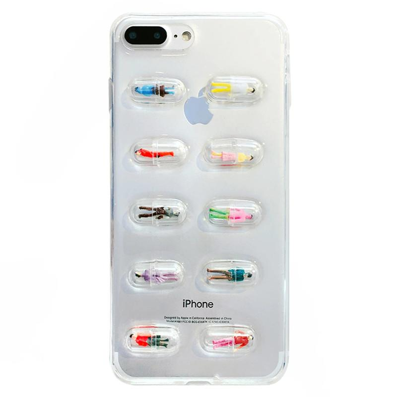 fashion funny 3d chill pills people cover case for iphone 8 7 plus x