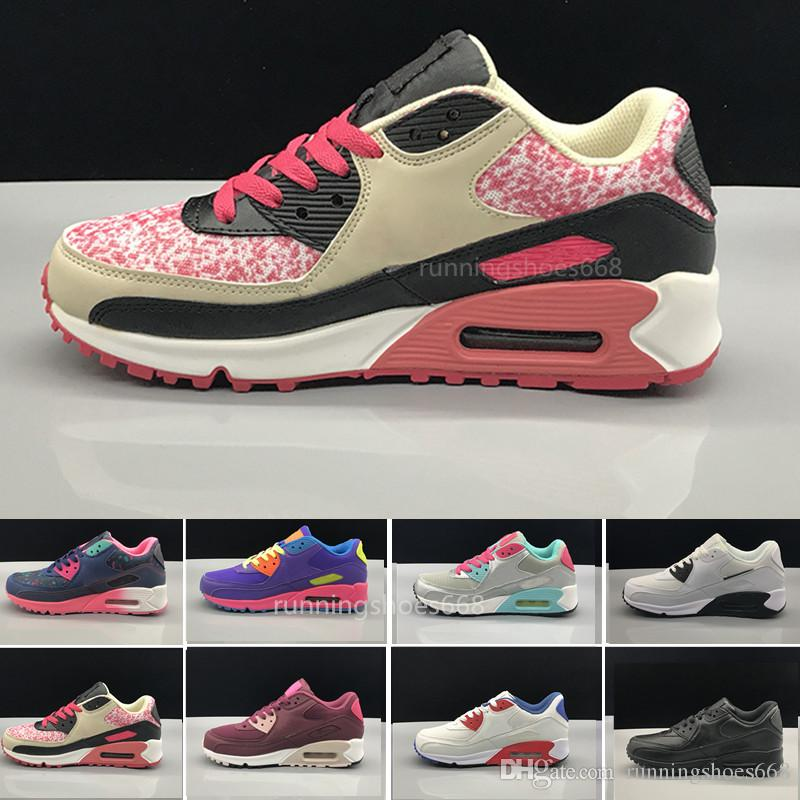 nike air max 90 airmax 2018 Womens Sneakers ShOs classic 90 WOMEN Lässige ShOes Schwarz Rot Weiß SpORts Trainer AIR Kissen Oberfläche Atmungsaktive