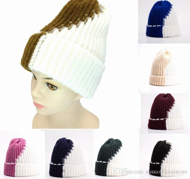 5a35dc29ba2 New Unisex Winter Patchwork Color Knitted Skullies Hat Wool Thick Warm Beanies  Cap for Women Men Winter Hat for Women Warm Knitted Beanies Hat Patchwork  ...