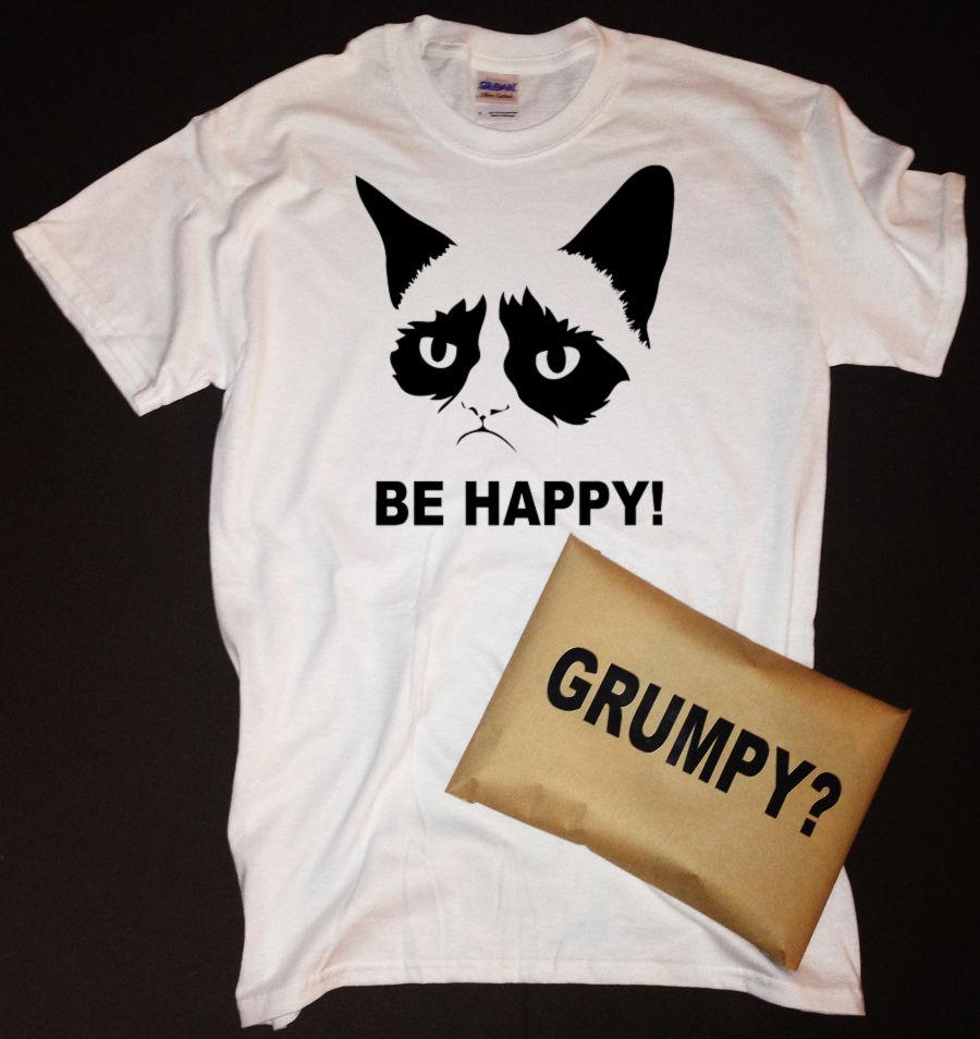 Grumpy Cat Be Happy T Shirt With Grumpy Packaging Shirt Custom T