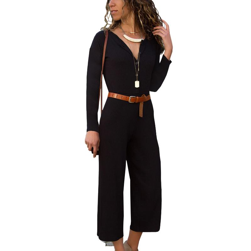 2ff76515144c 2019 Autumn Long Sleeve Wide Leg Jumpsuits For Women 2018 Fashion O Neck  Loose Playsuit Party Ladies Romper Casual Bodysuit Women From Layette66