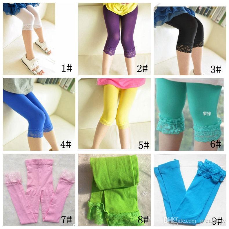 Girls leggings summer stretch kids lace leggings skinny capris pants candy color velvet tight pant trousers