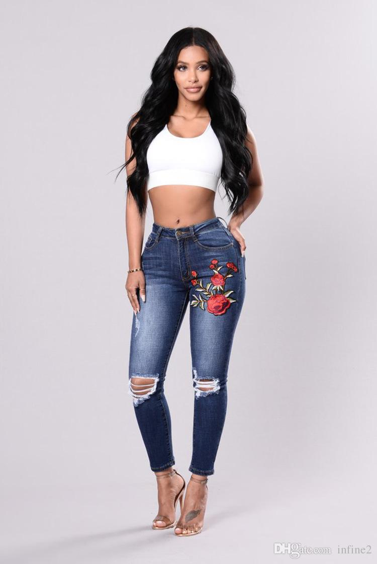dd562ab08a2 2019 YSMARKET 2018 Plus Size 3XL Woman Jeans High Waist Ripped Denim Pants  Embroidery Skinny Washed Stretch Pencil Trousers E8051 From Infine2