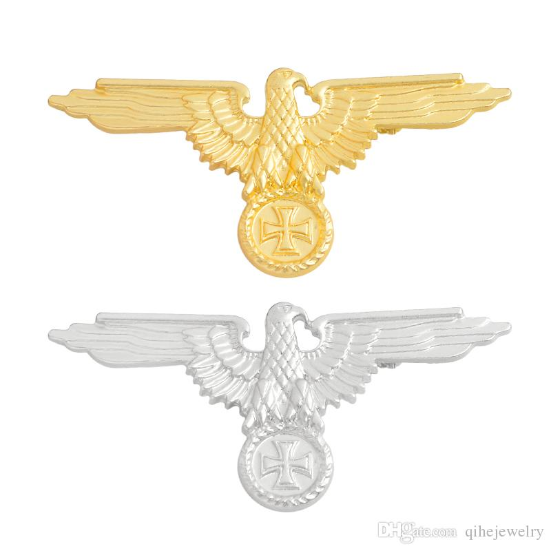 QIHE JEWELRYWWII WW2 Duitse Militaire Eagle Goud/Zilveren Broches Badges Revers pin Broches Cap Kokarde mannen sieraden