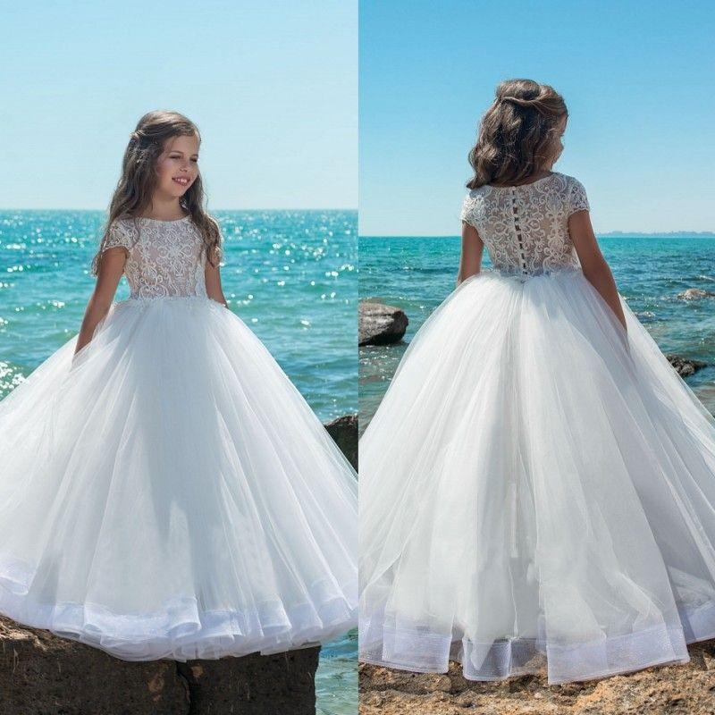2018 Ball Gown Flower Girl Dresses For Wedding Applique Jewel Neck ...
