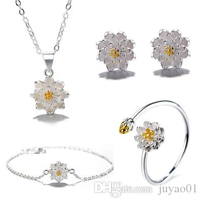 4100ec96e58d 2019 Fashion Female Gold Silver Separation Handmade Hand Painted Lotus  Necklace Flower Ring Jewelry Earrings Lotus Jewelry Necklaces From Juyao01