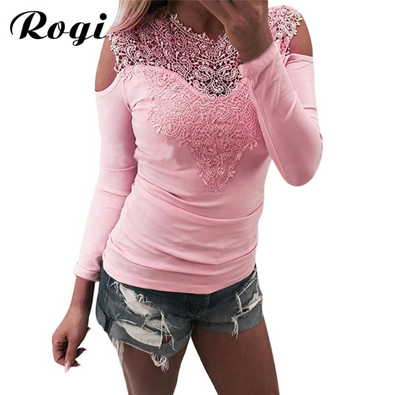 951b97b960d Rogi Lace Women Blouses And Tops 2018 Autumn Fashion Patchwork ...