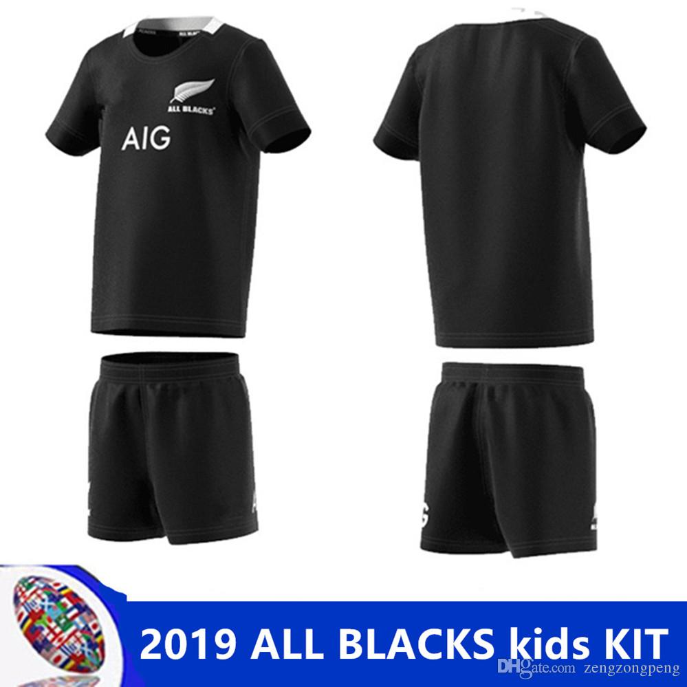 acf86f33efb 2019 2019 ALL BLACKS Kids KIT 2018 2019 ALL BLACKS HOME JERSEY New Zealand  Singlet Rugby Jersey ALL BLACKS AWAY JERSEY Size 18 20 22 24 26 28 From ...