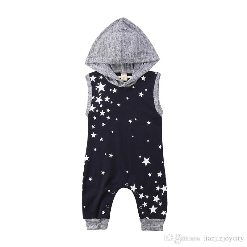 4d64f3d86de8 Newborn Baby Boys Girls Romper Toddler Kids Summer Sleeveless Hoodie Stripe  Star Romper Jumpsuit Playsuit Sunsuit Outfit Clothes Online with   12.58 Piece on ...