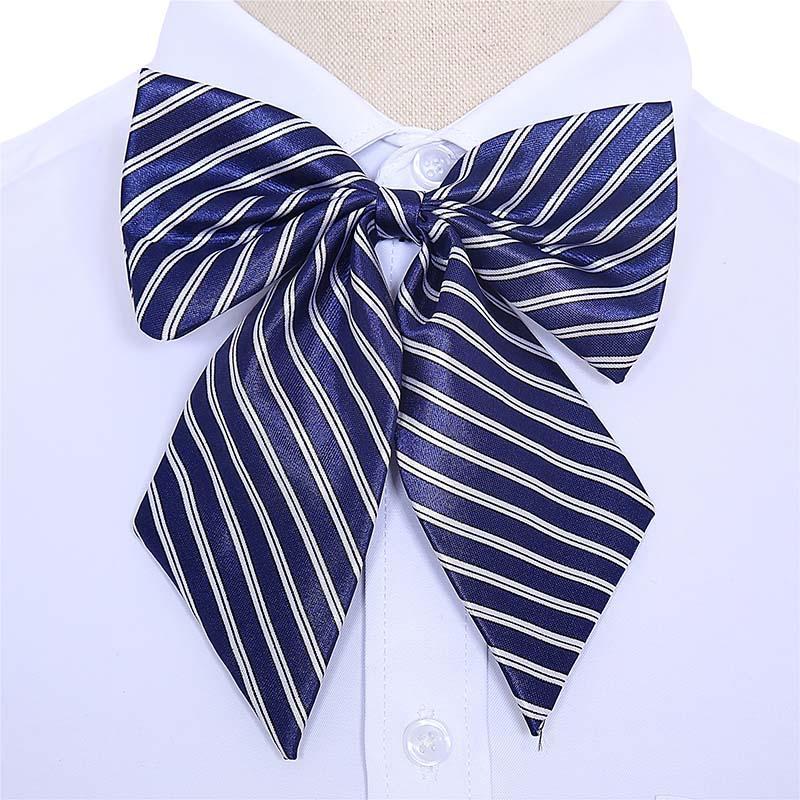 Women Bowties Striped Bow Ties Silk Tie Bow Tie Butterfly Neck Wear Collar 0U