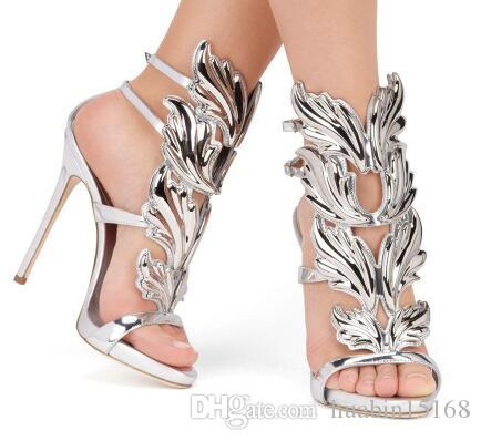 new Hot Sale Golden Metal Wings Leaf Strappy Dress Sandal Silver Gold Red Gladiator High Heels Shoes Women Metallic Winged Sandals