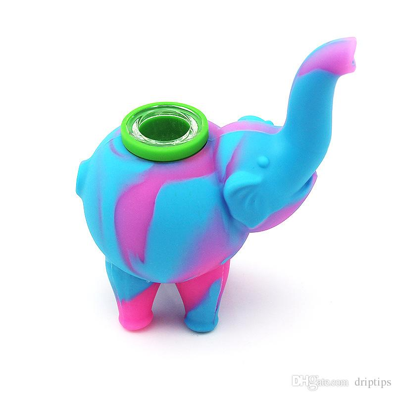 유리 그릇으로 실리콘 코끼리 파이프 미니 버블 러 물 파이프 음식 학년 실리콘 물 담뱃대 봉 길이 123mm