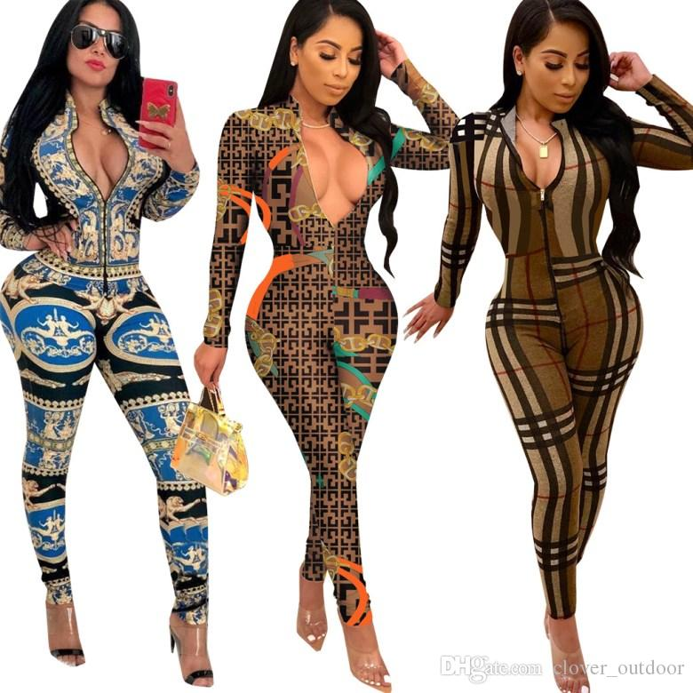 womens jumpsuit long sleeve designer jumpsuit sexy romper elegant fashion skinny jumpsuit pullover zipper comfortable clubwear hot t9