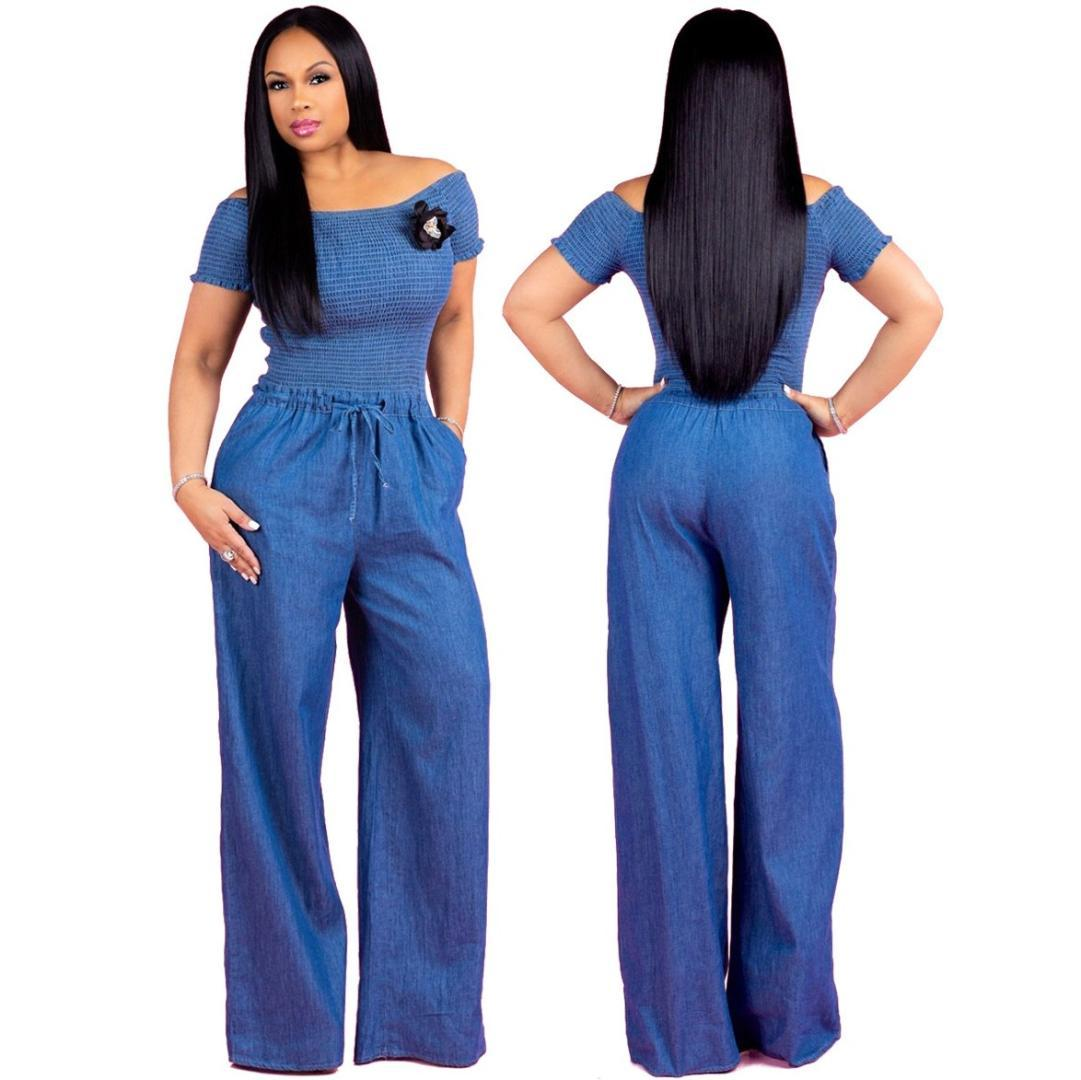 e717e2f3b222 2019 Sexy Women Denim Jumpsuit Solid Off Shoulder Smocked Wide Leg Pants  Jumpsuit Ladies Drawstring Long Overalls From Cactuse