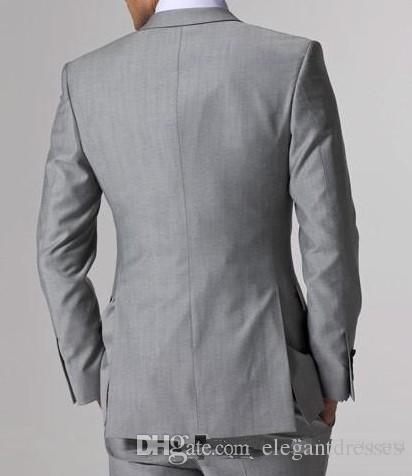 2021 Пользовательские формальные мужчины светло-серый боковой вентиляционный жених смокинги Groomsmen Лучший мужчина свадебные костюмы Bridegroom Бизнес износ куртка + брюки + жилет + галстук
